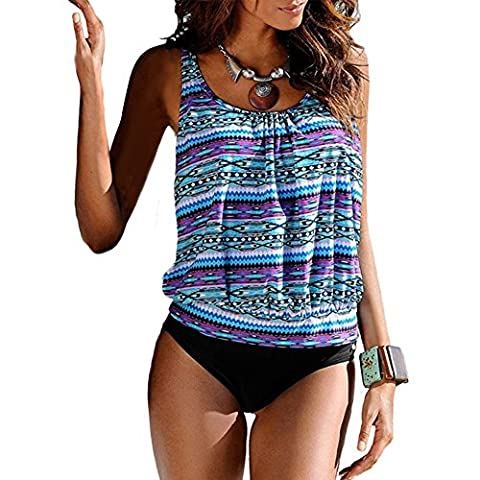 Blivener Women Padded Push Up 2 Pieces Tankini Sets Printed