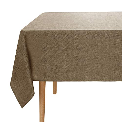 Umi.Essentials Tischtuch Wasserabweisend Tischdecke Leinenoptik Tischdecke Lotuseffekt Tischwäsche 130x280 cm Taupe