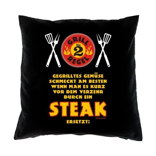 Kissen komplett mit Füllung, Dekokissen, Couchkissen - Grill Regel Nr. 2 - Gegrilltes Gemüse schmeckt am besten wenn...