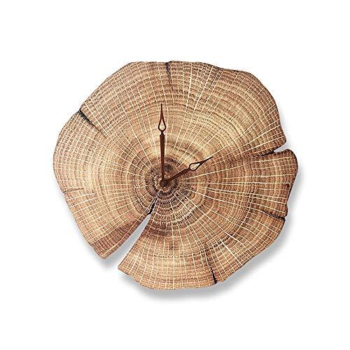 Zzyff Schön Wanduhr DIY Holz Acryl Moderne Europäische Runde Stumm Für Wohnzimmer Schlafzimmer Log Hotel Wohnzimmer Wanduhr Jährliche Ringe Minimalistischen Praktisch -