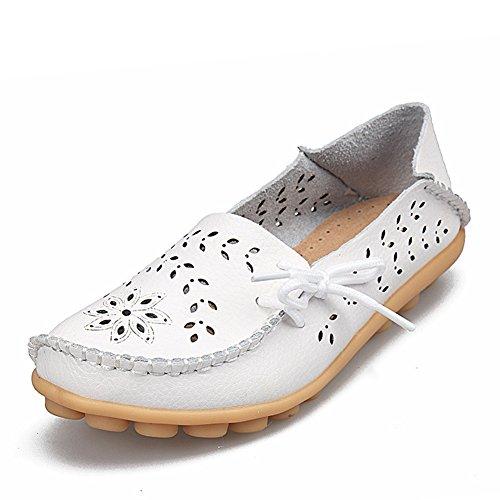 Damen Weiche Mokassins Loafers Slip On Erbsenschuhe Flatschuhe Vintage Leder Schuhe Frauen Bootsschuhe Casual Slipper,Weiß 40 (Schuh Damen Leder Slip-on)