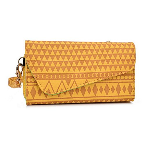 Kroo Tribal Urban Style Phone Case Walllet Clutch fits Samsung Galaxy S III mini Value Edition multicolore Tan Brown jaune