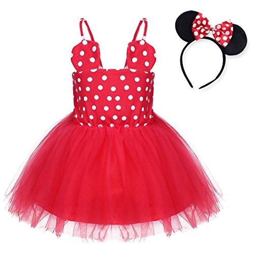 YiZYiF Mädchen Kinder Kostüm Ballettkleid Geburtstag Party Karneval Fasching Cosplay Halloween Kostüm Kleid mit Ohren, 12 Stil (68-74, Rot + Rot Rock) (70's Party Kostüme)