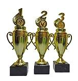 RaRu 3 Pokale für Viele Verschiedene Sportarten mit Gravur und 3 Anstecknadeln (Sticker) (Fußball)