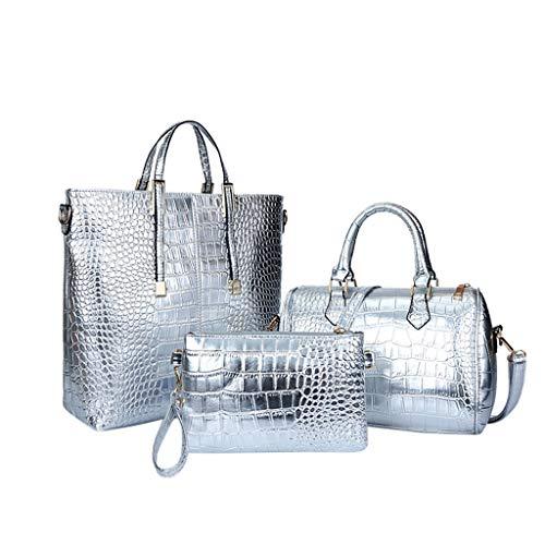 Damen Umhängetasche Set 3 Stück Golden Bowling Tasche Griff oben Croc Modell Kleine Tasche Wristlet Silber -