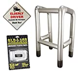 NOVELTY ELDERLY DRIVER CAR WINDOW SIGN + INFLATABLE ZIMMER FRAME + EMERGENCY PLASTIC PANTS - OLD AGE MAN BIRTHDAY PRESENT DAD