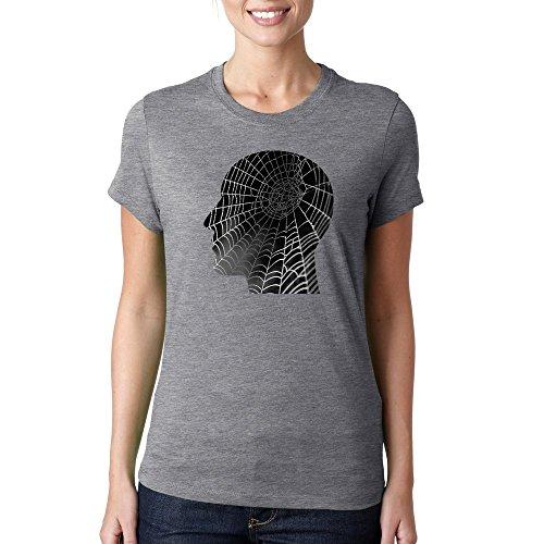 Human mind like cobweb dope logo Dammen baumwolle t-shirt Grau