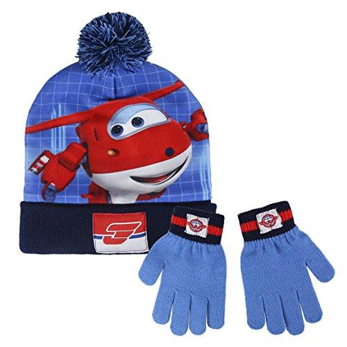 Preisvergleich Produktbild Super Wings 2200-2455 Kinder Winter Set,  Beanie Mütze und Handschuhe,  Pompon,  Acryl,  Eine Größe,  Mehrfarbig