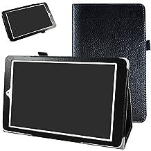 """Alcatel Onetouch PIXI 3 (10) Funda,Mama Mouth Slim PU Cuero Con Soporte Funda Caso Case para 10.1"""" Alcatel One Touch Pixi3 10 Android Tablet,Negro"""