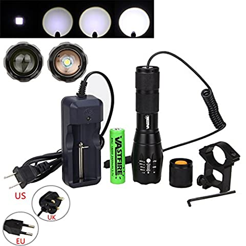 VastFire 350 yard Zoomable Adjustable Focus White Light XM-L T6 1000 Lumens Bright LED Tactical Flashlight Torch Lamp Gun Mount Remote Pressure Switch (18650 Rechargeable Battery Charger Included)