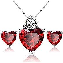 Leisial Regali di Natale di alta orecchini di cristallo rosso del vestito di cristallo del melograno del cuore di sincerità Rosso