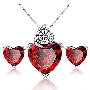 Hosaire Halskette Ohrringe Diamant Herz Stil elegant Frauen Schmuck Crystal Set von Kristall Anhänger Halskette + Ohrringe(Rote)