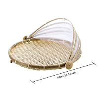 Mistomato Handmade Picnic Basket,Hand-Woven Wicker Dustproof Basket,Mesh Food Cover Prevent Mosquito Flies,Round,L: 42cm/16.5in without handle
