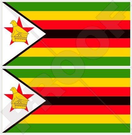SIMBABWE Flagge, Fahne Afrika Simbabwisch 110mm Auto & Motorrad Aufkleber, x2 Vinyl Stickers