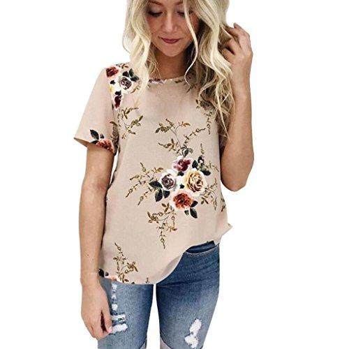 OSYARD Damen Sommer Kurzarm Rundhals Blumendruck Bluse in Melierter und Bedruckter Optik Beiläufiges Lose T-Shirt