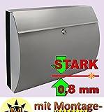 Stabiler Briefkasten, HOCHWERTIGER EDELSTAHL - 18/8 + LOTUS-SELBSTREINIGEND, Modell Runddach klassisch in Edelstahl stabil modern