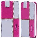 Nokia Lumia 530 Hülle, numia Handyhülle Handy Schutzhülle [Handytasche mit Standfunktion und Kartenfach] Pu Leder Tasche fürNokia Lumia 530 Case Cover [Weiss-Pink]