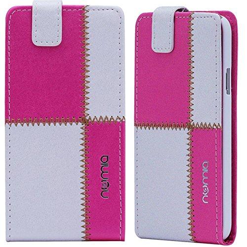 Huawei Ascend G6 Hülle, numia Handyhülle Handy Schutzhülle [Handytasche mit Standfunktion und Kartenfach] Pu Leder Tasche fürHuawei Ascend G6 Case Cover [Weiss-Pink]