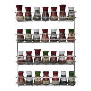 COPA Design 4 Etagen Kräuter- und Gewürzregal | Spice Organizer Wand montieren oder Küche Schrank Aufbewahrung (einfach zu installieren) | Messungen: (bxdxh): 500 x 66 x 405 mm | integrierte Gewürzregal für 4 x 8 Töpfe