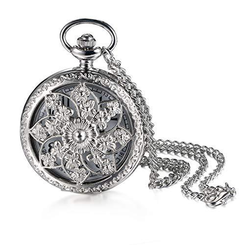 Jewelrywe Orologio da Tasca Quarzo Quadrante Numero con Collana Lega Disegno Fiore Colore Scelta