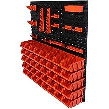 61 tlg. Werkzeugwand Wandregal Regal 4 Platten + 40 Stapelboxen Gr. 2 + Halterung #1 & #2 Box Werkstatt Lagerregal ( 8 - 71 tlg. Regale )