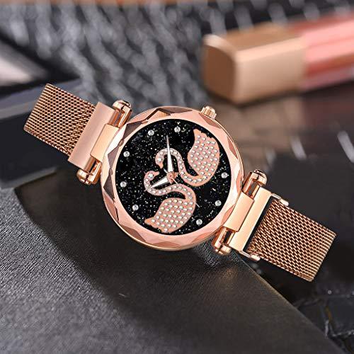Uhr Armbanduhren Männer Damenuhren Hansee Magnet Stein Diamant Damenuhr Transfer Uhr Quarz Casual Damenuhr Watch Uhren Herrenuhr(Rose Gold)