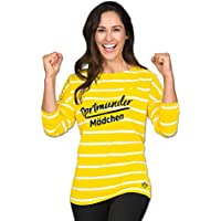 Borussia Dortmund Langarmshirt für Damen, Baumwolle, S-XXL, Dortmunder Mädchen-Druck, BVB-Emblem (gelb)