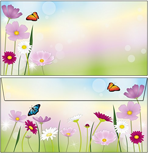 100 Kuverts schöne Blumenwiese DIN lang ohne Fenster 61233