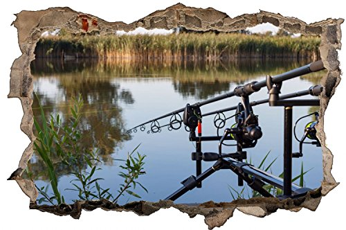 Angeln See Natur Angelrute Wandtattoo Wandsticker Wandaufkleber D0716 Größe 60 cm x 90 cm