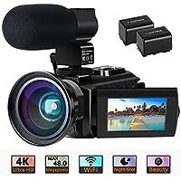 "Videokamera 4K Camcorder Ultra HD Wi-Fi Digitalkamera 48MP IR-Nachtsicht 16X Digitalzoom Recorder 3,0 ""IPS Touchscreen Vlog-Kamera für YouTube mit Mikrofon, Weitwinkelobjektiv, 2 Batterien"