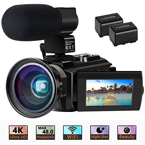 "Videokamera 4K Camcorder Ultra HD Wi-Fi Digitalkamera 48MP IR-Nachtsicht 16X Digitalzoom Recorder 3,0 ""IPS Touchscreen Vlog-Kamera für YouTube mit Mikrofon, Weitwinkelobjektiv, 2 Batterien"