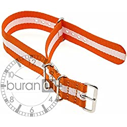 GENUINE BURAN01 Military Nylon Watch Strap Orange/White 20 mm Watch Strap