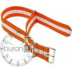GENUINE BURAN01Military Nylon Watch Strap Orange/White 20mm Watch Strap