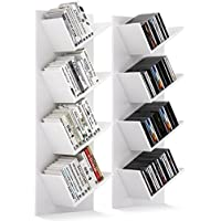 HOMFA Wall Bookshelf 2 Set of Tree Floating Shelves CD Storage Rack White 33x15x90cm