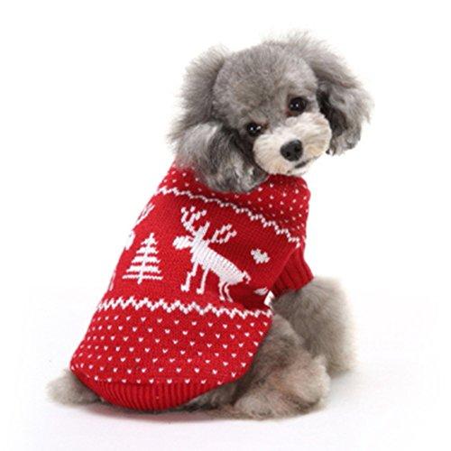 GWELL Hund Hundepullover Hundepulli Winter Strickpullover Sweater Cardigan Weihnachten Fasching Kostüme für kleinen großen Hund Katze Rot Elch L