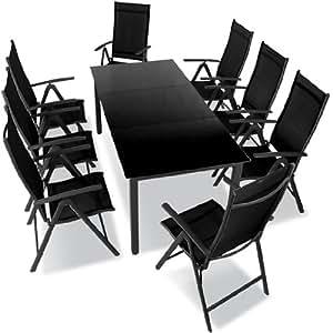 9 teilige gartengarnitur alu sitzgarnitur sitzgruppe mit glastisch komfortable. Black Bedroom Furniture Sets. Home Design Ideas