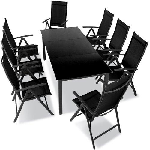 Miadomodo - Aluminio conjunto muebles de jardin - juego de 9 piezas - gris oscuro