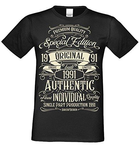 T-Shirt Geschenk zum 27. Geburtstag Special Edition 1991 Bruder Sohn Freund Papa Farbe: schwarz