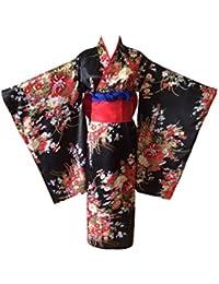 NSPSTT Damen Japanischer Seide Kimono Yukata Anime Lolita Cosplay Kostüm Schwarz