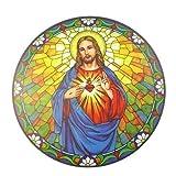 Colector de Sol Sagrado Corazón de Jesús Vidrio de Color Pegatina de Ventana Reusable 15cm