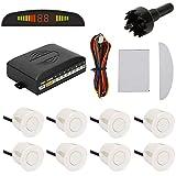 TKOOFN KFZ Summer Einparkhilfe Rückfahrhilfe 8 Sensoren 4 vorne und 4 hinten Hinter mit LED Farb Display Auto Parken Sensor System Pieper Radar Kit Weiß
