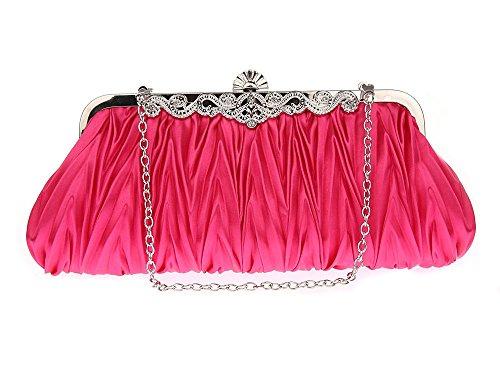 Tasche Satin Umhängetasche Abendtasche 2 Party Besa Klein Schultertasche Rosa für CW0002 Clutch Damen Hochzeit Pink Lantra mit Ketten und fEYwqtxx