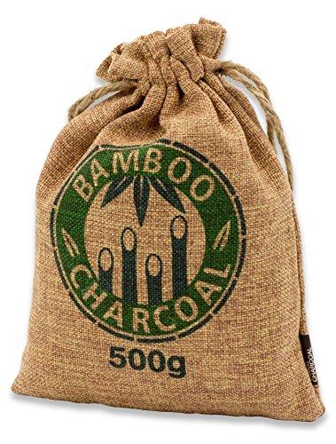 Natürlicher Bambus Lufterfrischer mit Aktivkohle - KochWunder Wunderkissen - Luftreiniger für Wohnzimmer, Küche, Schlafzimmer, Bad & Auto uvm., Schadstofffrei & 100% biologisch abbaubar - 500g braun