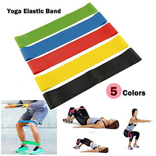 Dazone 5er Set Fitnessbänder Sport- Fitnessband Widerstandsband Gymnastikband Gummiband für Fitness Crossfit Pilates Yoga und Physiotherapie -