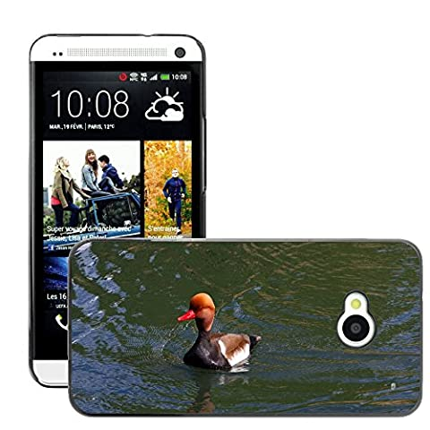 Just Phone Cover Hard plastica indietro Case Custodie Cover pelle protettiva Per // M00139732 Pochard Red Headed Pochard Canard // HTC One M7