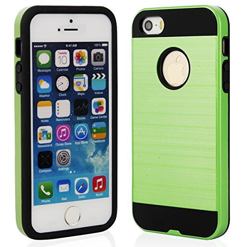 EGO® Hard Case Schutz Hülle für iPhone 5 5s, Pink Metallic Effect Aluminium Brushed Handy Cover Schale Bumper Etui Grün