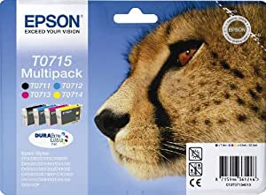 Epson T0715 C13T07154020 Cartouche d'encre d'origine multi pack Noir/Cyan/Magenta/Jaune