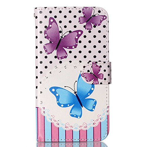 Voguecase® Pour Apple iPhone 5C Coque, Etui Housse Cuir Portefeuille Case Cover (Licorne 01)de Gratuit stylet l'écran aléatoire universelle pink/bleu papillon