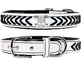 Vcalabashor Hundehalsband aus Leder,Geflochtene Hundehalsbänder aus Leder mit Diamante-Totenkopf Besetzt,Weich Gepolstertes Hundehalsband,Weiß & Schwarz Groß