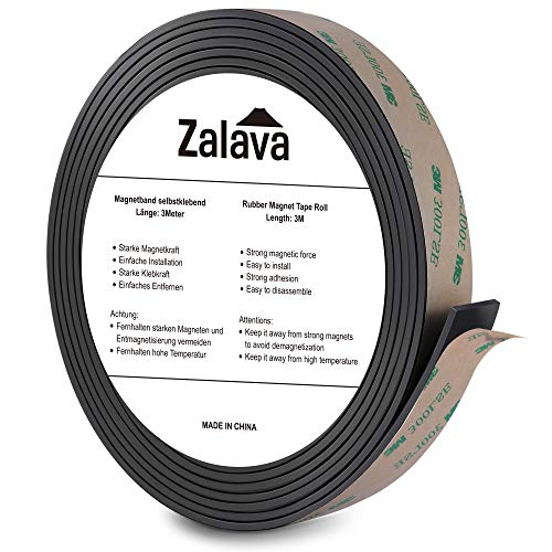 Zalava selbstklebend Magnetband | Verdicken, 3M Klebstoff, individuell zuschneidbar Magenetklebeband | Magnetisches klebeband/Magnetstreifen für Schule & Präsentation